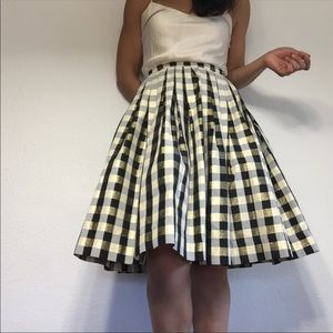 Handmade A-line party skirt gingham black gold XS